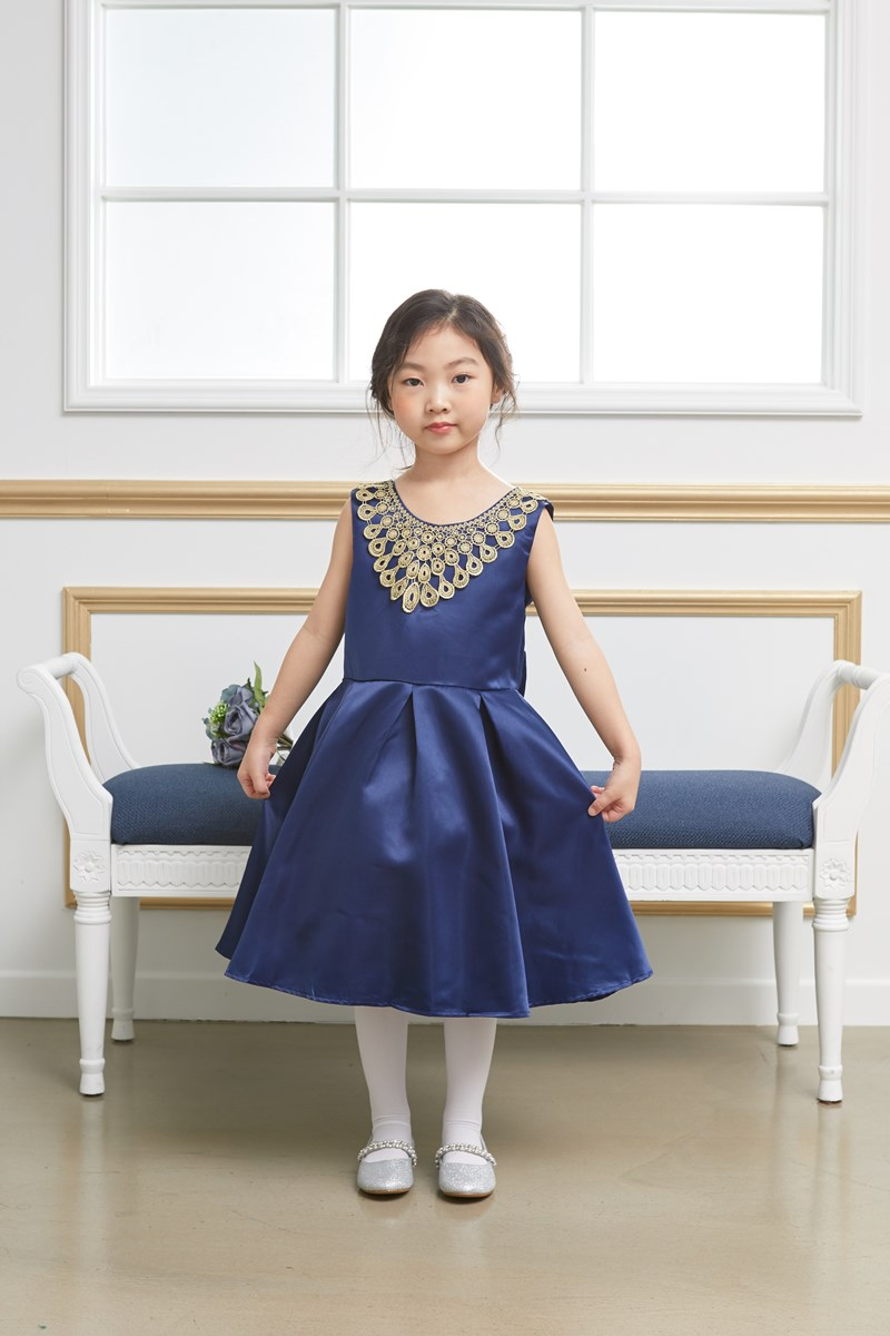 JDM19109/RENTAL/Princess / Gold & Blue Sleeveless Dress