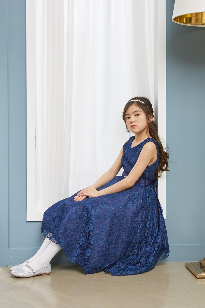 JDM19103/Lace Vintage Dresses/Navy Blue/Today delivery (1PM)